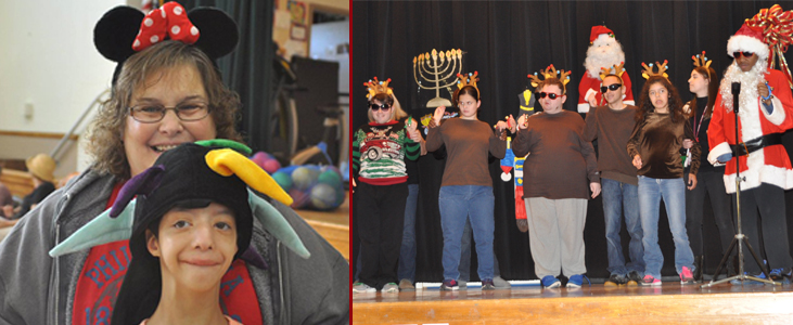 Left:Hat day at Harbor for staff and students. , Right: Performing at the Holiday Show